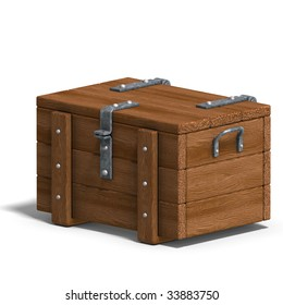 treasure chest. 3D rendering with clipping path and shadow over white