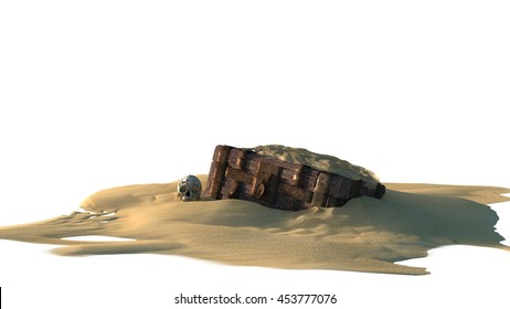 Treasure Chest Buried in the Sand A half buried treasure chest with a partially exposed skull nearby. Isolated on white. 3d Render