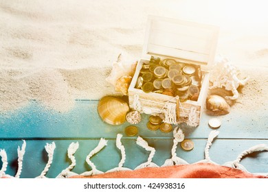 Treasure Chest On Beach Stock Photos, Images & Photography