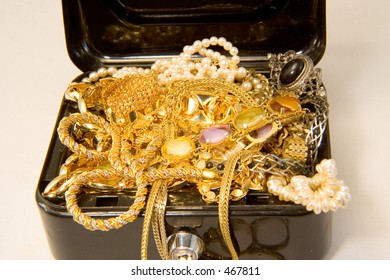 A treasure chest full of gold and jewels