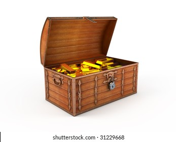 Treasure chest with gold bars inside