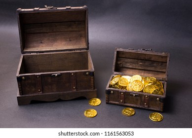Treasure chest with gold coins in front of dark background