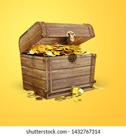 Treasure Chest with a golden coin on yellow background