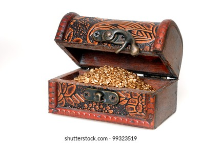 Treasure chest with golden colored grain  in front of a white background