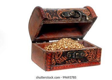 Treasure chest with golden colores grain  in front of a white background