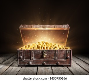 Treasure Chest - Open Ancient Trunk With Golden Coins