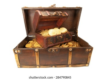 Treasure Chests with gold coins isolated on white background