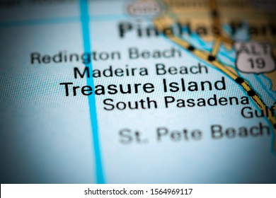 Treasure Island. Florida. USA on a map