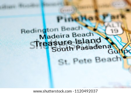Treasure Island Florida Usa On Map Stock Photo Edit Now 1120492037