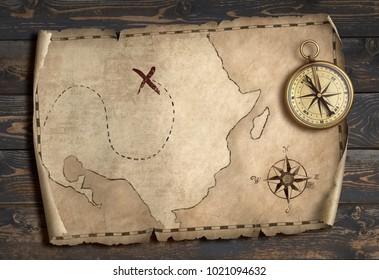 Treasure map adventure concept 3d illustration