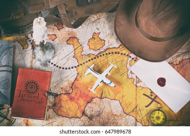 Treasure map of an adventurer and his belongings