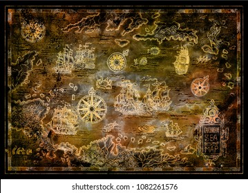 Treasure map of Caribbean Sea with pirate sailboats, compasses, islands on black. Decorative antique background with nautical chart, adventure treasures hunt concept, collage