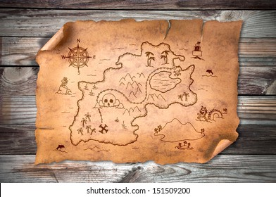 treasure map, on wooden grunge background