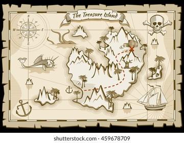 Treasure pirate hand drawn map