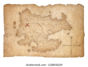treasure pirates map isolated with clipping path included