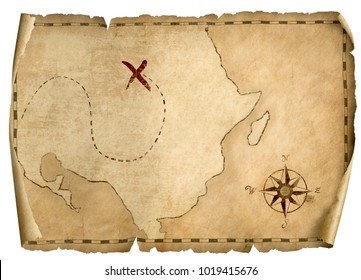 treasure pirates' old map isolated 3d illustration with light direction from right