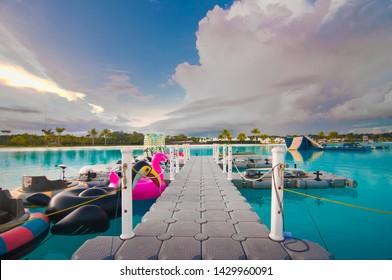 treasurebay bintan bridge watersport activities, good view blue sky with unicorn float pink and black color .bintan indonesia ,lagoi resort june 2019