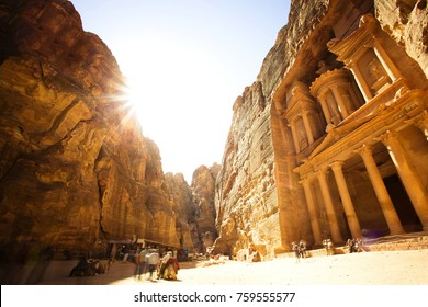 The Treasury (Al Khazneh) of Petra Ancient City with Golden Sun, Jordan