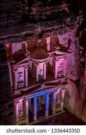 The Treasury, Al-Khazneh at night, elevated view, Petra, Ma'an Governorate, Jordan