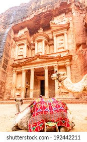 The Treasury in the ancient Jordanian city of Petra, Jordan. It is known as Al Khazneh.