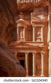 The treasury in the ancient nabbatean city of Petra in todays Jordan