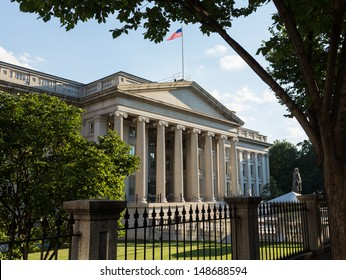 Treasury Building in Washington, D.C. is  the headquarters of the United States Department of the Treasury. An image is featured on the back of the United States ten-dollar bill. 1836-1869.