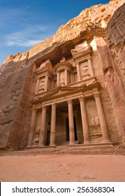 The treasury is also called Al Khazna, it is the most magnificant and famous facade in Petra Jordan, it is 40 meters high.