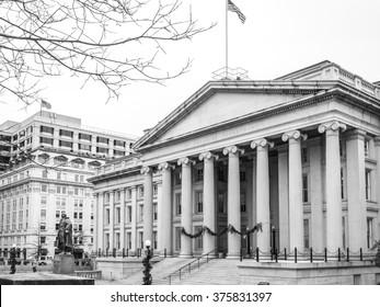 The Treasury department building near the White House. Washington DC
