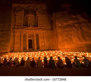 Treasury during night walk Petra Jordan