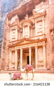 The Treasury in the Edomite city of Petra, Jordan. It is known as Al Khazneh. Petra has led to its designation as a UNESCO World Heritage Site.