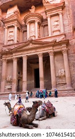 The Treasury Petra with Camels and Tourists
