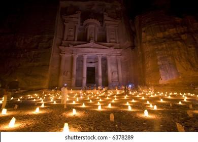 The Treasury at Petra Jordan lit at night