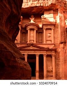 The Treasury in Petra, Jordan, Middle East.