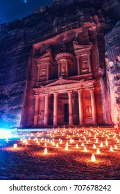 The treasury of Petra is seen by night. It is a historical and archaeological city in southern Jordan. Petra is one of the New 7 Wonders of the World and a UNESCO world heritage site.