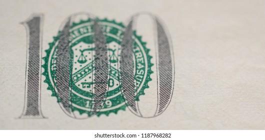 Treasury Seal on 100 dollar bill extreme macro, united states money closeup
