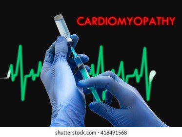 Treatment of cardiomyopathy. Syringe is filled with injection. Syringe and vaccine. Medical concept.