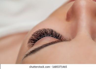 Treatment Eyelash Extension. Lashes. Eyes with Long Eyelashes.