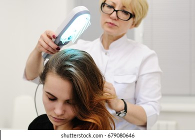 treatment of scalp and hair structure study. Phototherapy, light therapy, ultraviolet, psoriasis, cold sores