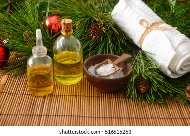 Treatment spa with Christmas decorations