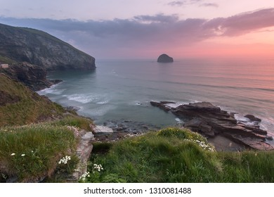 Trebarwith Strand Cornwall Uk