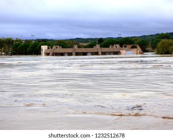 Trebes' arena underwater after the Aude River floods the city killing 6 people, France  October 15 2018