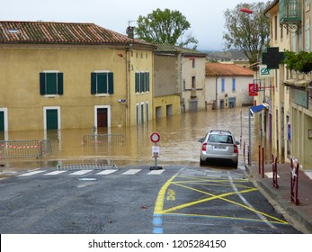 Trebes, France - October 15, 2018 Major flood hits Trebes and causes major devastation and 13 people deaths.