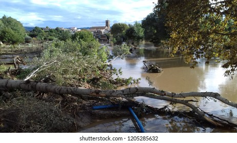 Trebes, France - October 15, 2018 Major flood hits Trebes and causes major devastation and 13 deaths.