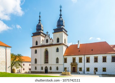 TREBIC, CZECH REPUBLIC - APRIL 18,2018 - View at the Basilica of St.Procopius in Trebic.The Jewish Quarter and St. Procopius Basilica in Trebic are listed as a UNESCO.