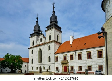 Trebic, Czech Republic - April 26, 2019: Gothic basilica Saint Procopius in Trebic, UNESCO site