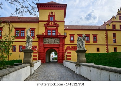 Trebic, Czech Republic - April 26, 2019: Detail exterior of the Castle Trebic, UNESCO site