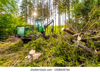Trebic, Czech Republic – July 18, 2019: wheeled harvester John Deere at work in the woods