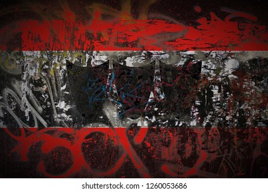 Trebic flag painted on dirty street wall with graffiti texture background. National political symbol street art.