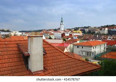 Trebic - UNESCO town in Czech republic. Churche St. Martin. Jewish quarters.