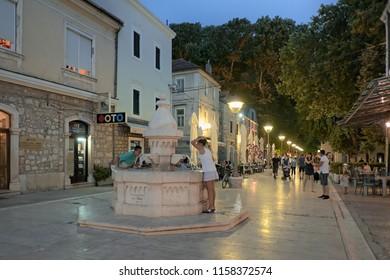 TREBINJE, BOSNIA AND HERZEGOVINA - JULY 08, 2083: drink water fountain of Goiko Shishkovich in pedestrian zone at night